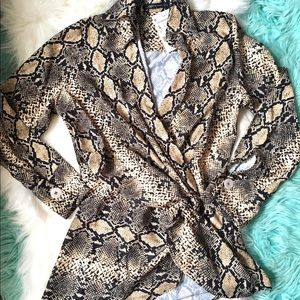 Tops - Snakeskin Print Knot Front Top